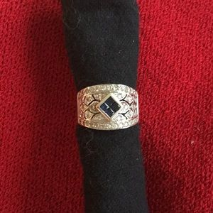 Jewelry - 18k SOLID WHITE GOLD  Diamond and sapphire ring